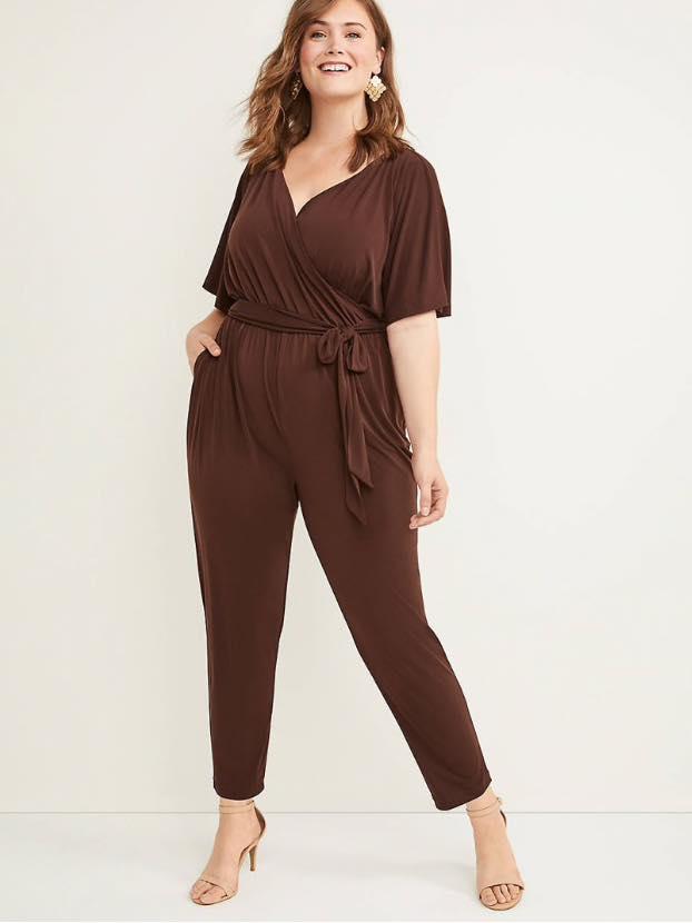 brown plus size matte jersey faux wrap jumpsuit