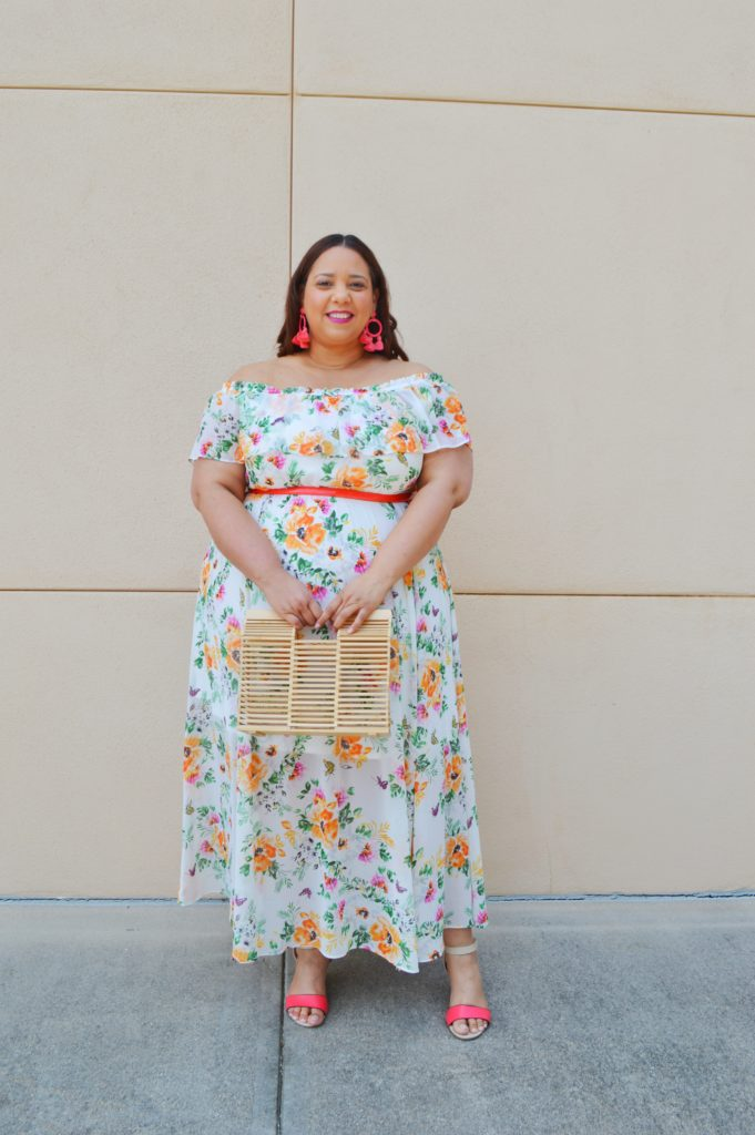 off shoulder plus size maxi dress