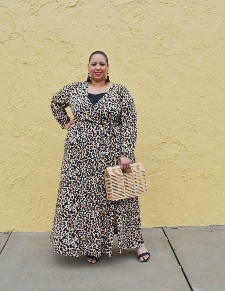 Tampa plus size blogger Farrah Estrella wearing a leopard print maxi dress