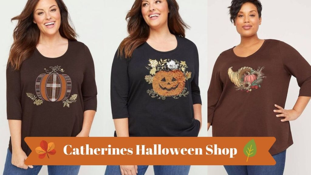 plus size Halloween themed t-shirts from catherines