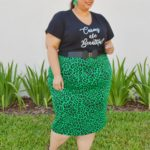 Look #34 Of 2019: Green Leopard Print Skirt & Graphic Tee