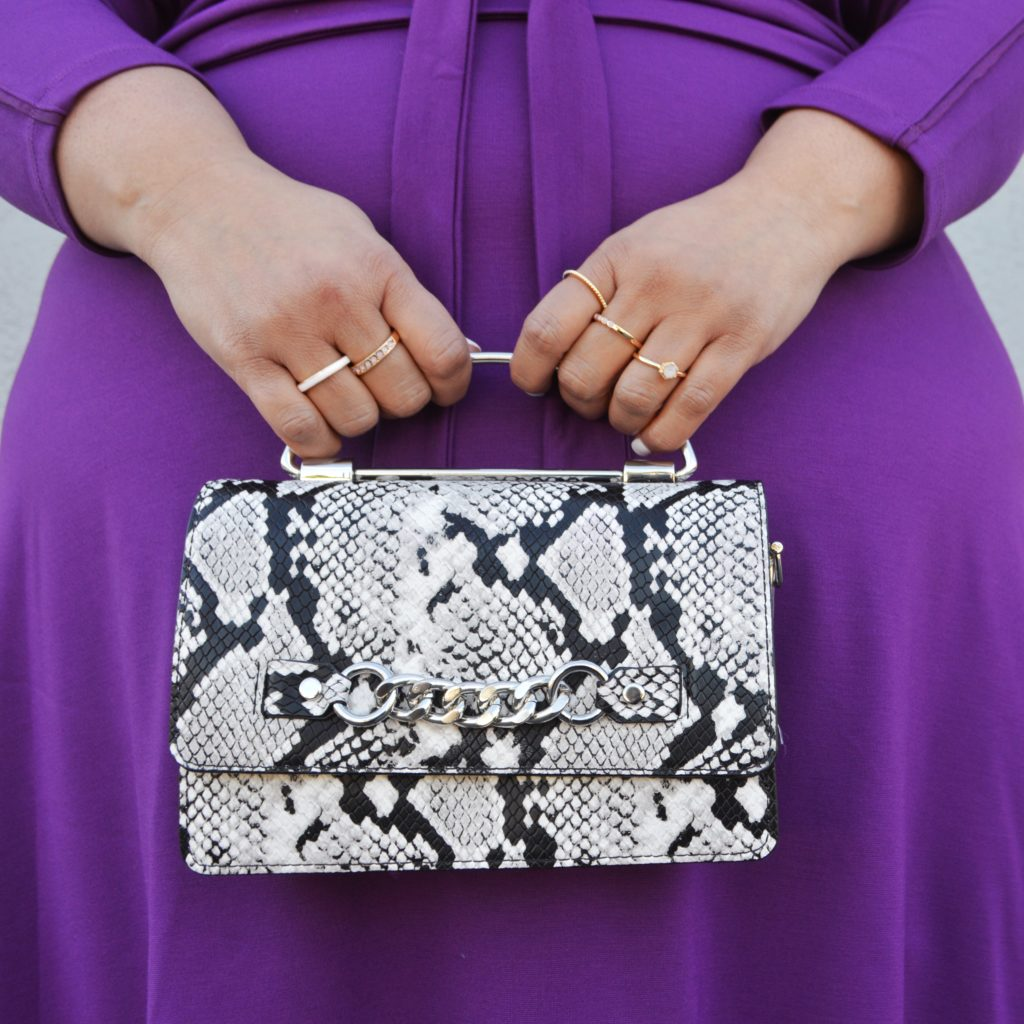 snake print handbag
