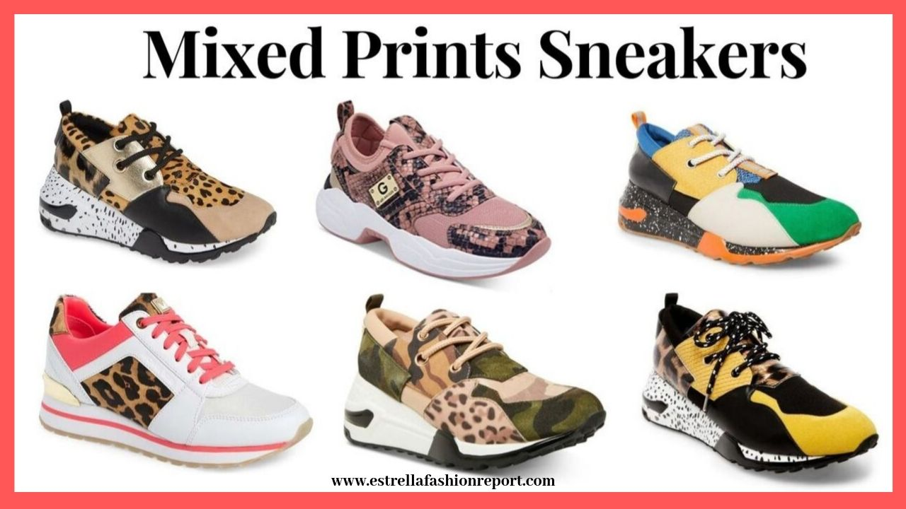 mixed prints sneakers