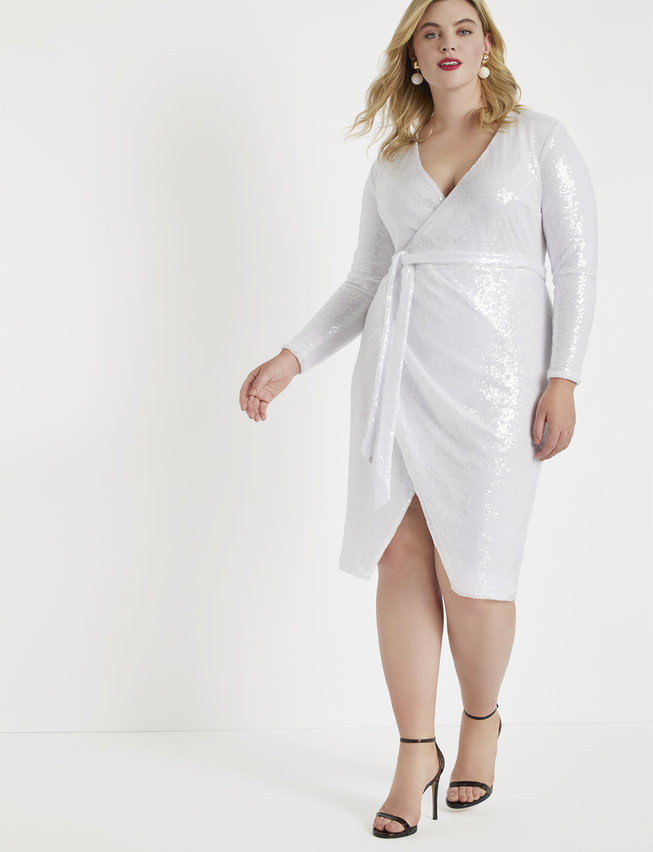 white plus size sequin dress
