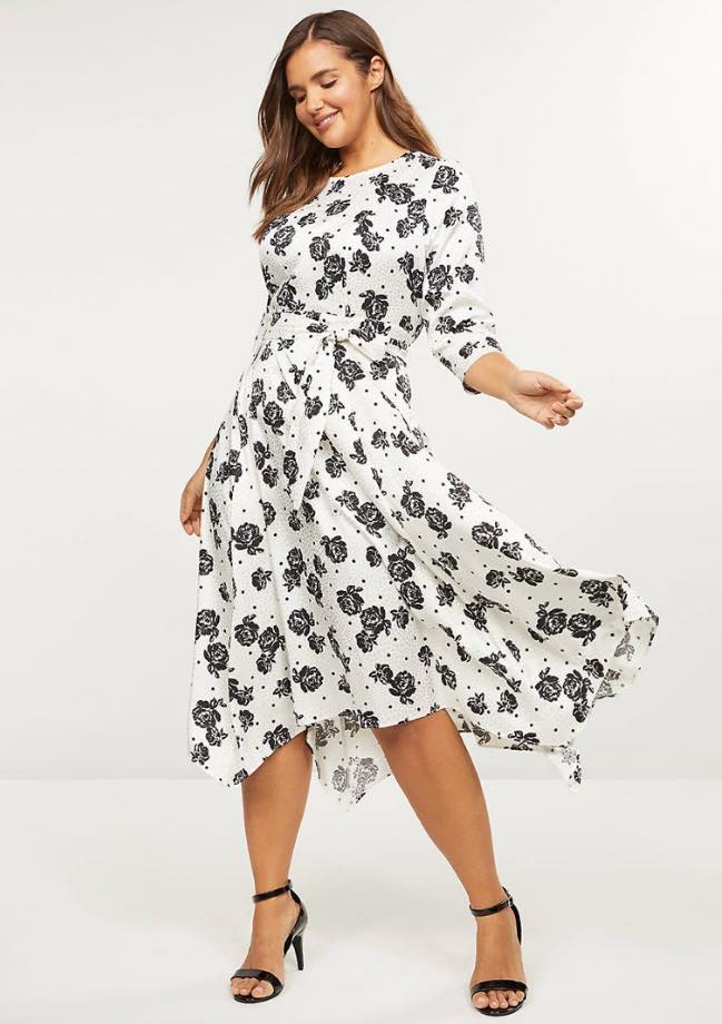 Black & White Satin Floral Midi Dress