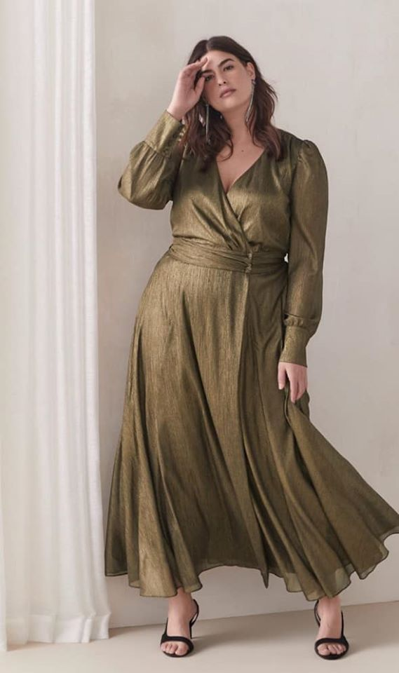 plus size Bronze Metallic Wrap Maxi Dress Addition Elle