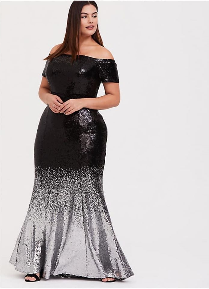 plus size BLACK OMBRE SEQUIN OFF SHOULDER GOWN