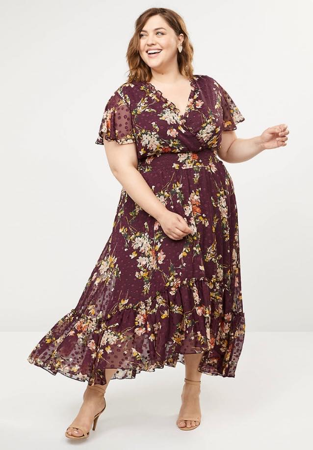 plus size V-Neck Floral Fit & Flare Maxi Dress