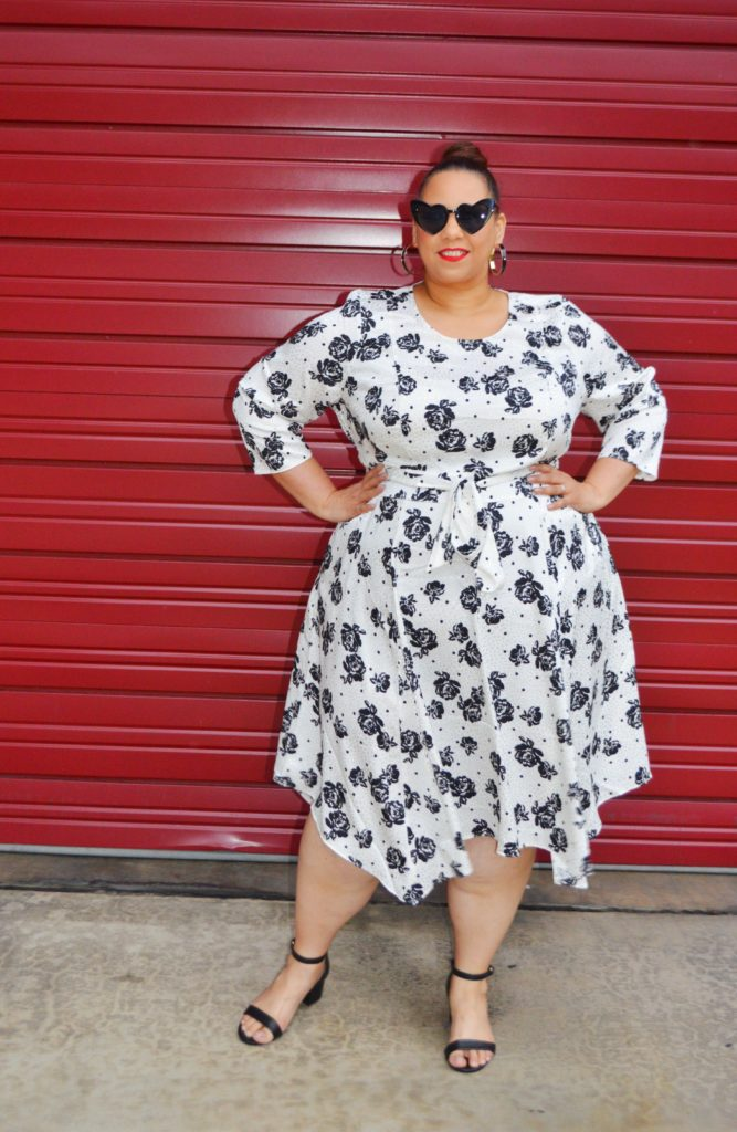 black and white flower print fit and flare plus size dress