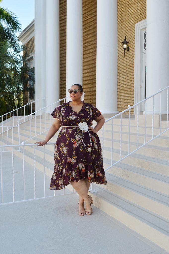 tampa blogger farrah estrella wearing a floral chiffon dress