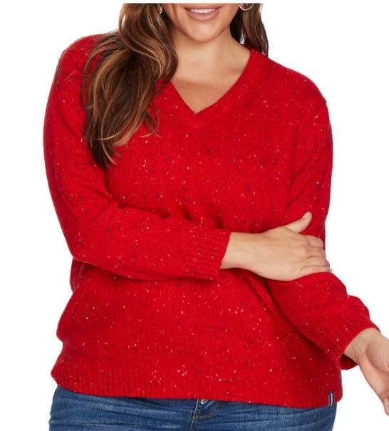 plus size Speckled V-Neck Cotton Blend Sweater