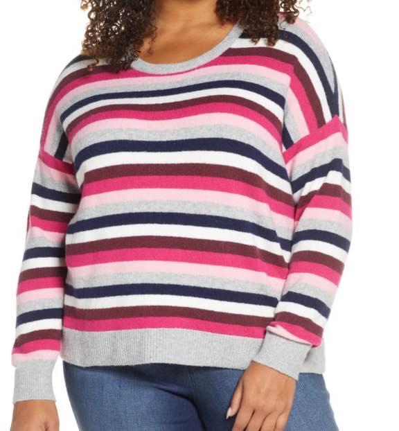 plus size Multistripe Crewneck Sweater