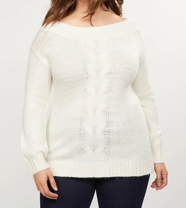 white off shoulder cable knit sweater
