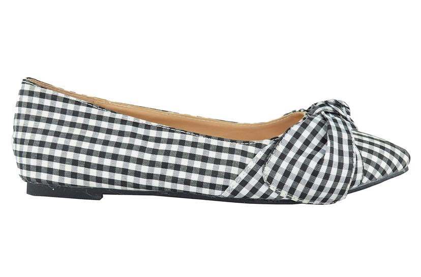 black and white check ballet flats