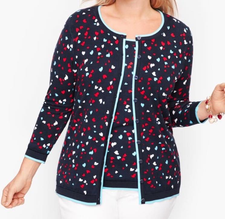 plus size HEART PRINT CHARMING CARDIGAN