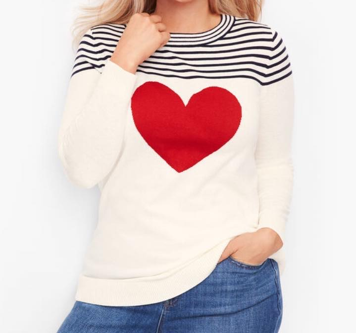 plus size BUTTON BACK HEART SWEATER