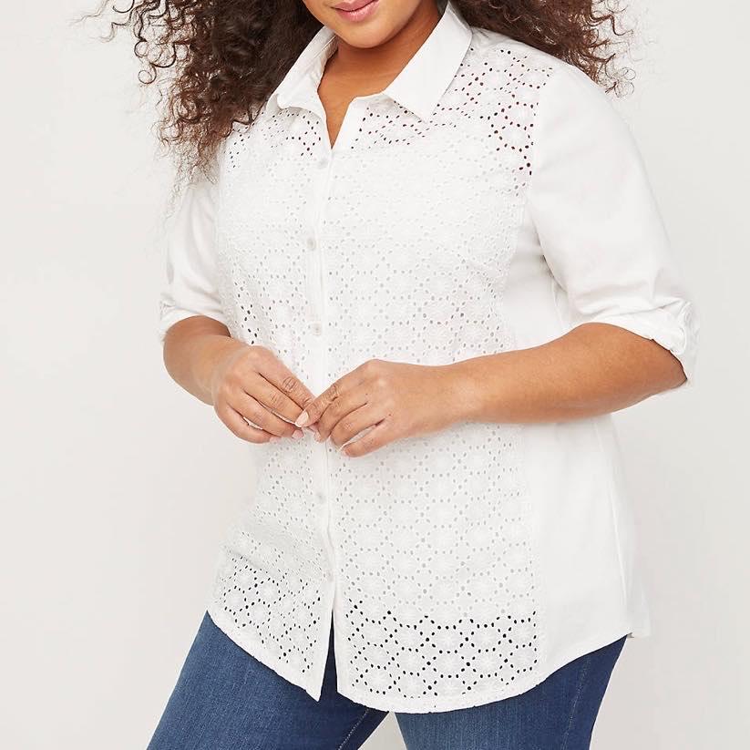 white buttonfront shirt