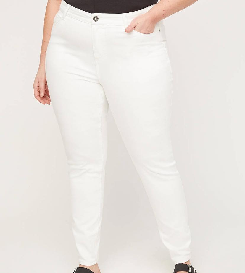 white plus size jeggings