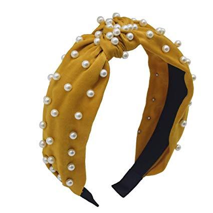 yellow pearl headband