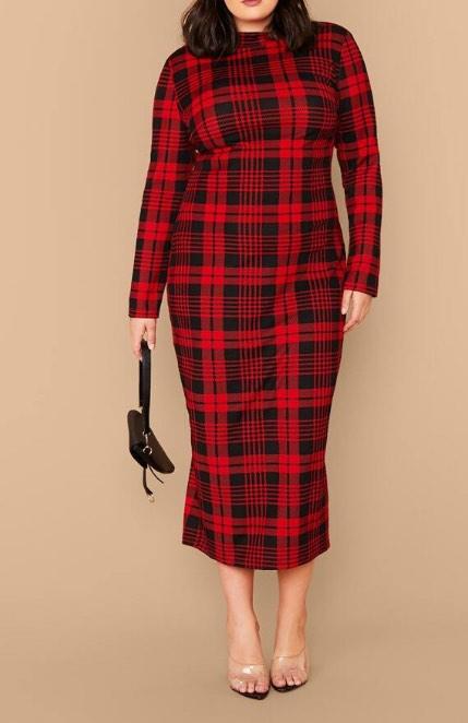 red plaid plus size dress