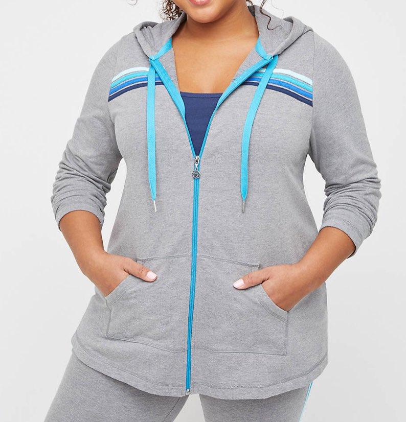 Eastview Zip Up Hooded Jacket Grey plus size activewear set
