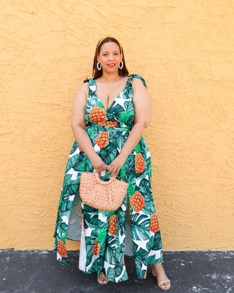 Tampa Fashion influencer Farrah Estrella wearing a pineapple print dress