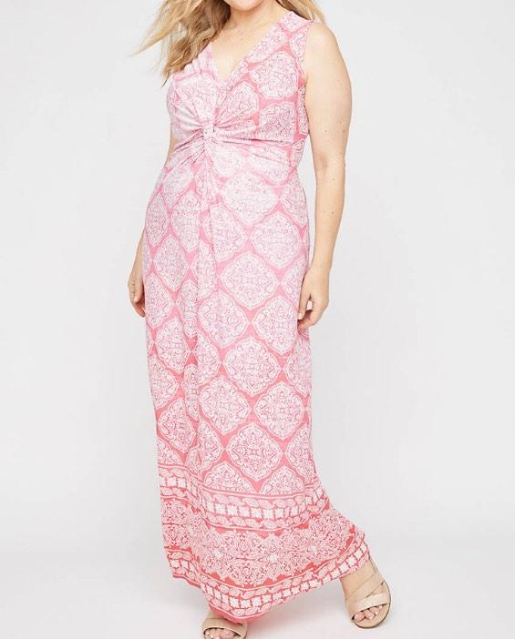 plus size light pink twist-know maxi dress