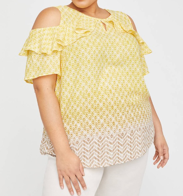 plus size Open shoulder top