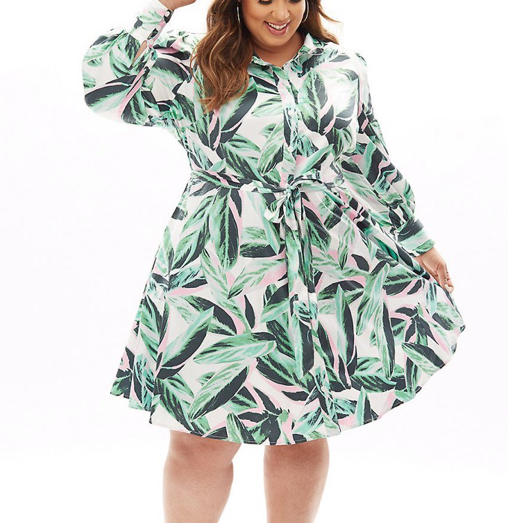 palm leaf print fit & flare shirtdress from the beauticurve x lane bryant collection