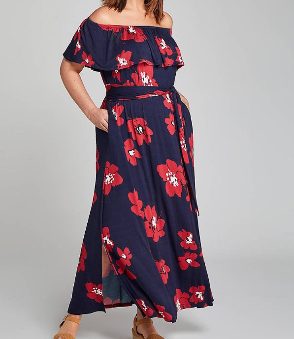convertible off-the-shoulder maxi dress