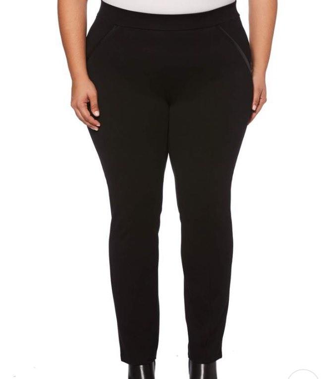 black ponte knit slim leg pant by Rafaella Sportswear