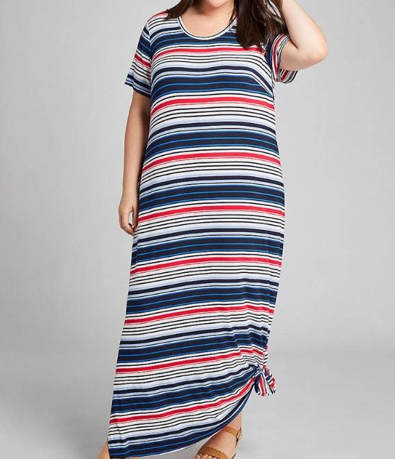 plus size Striped Tie-Hem Midi Dress from lane bryant