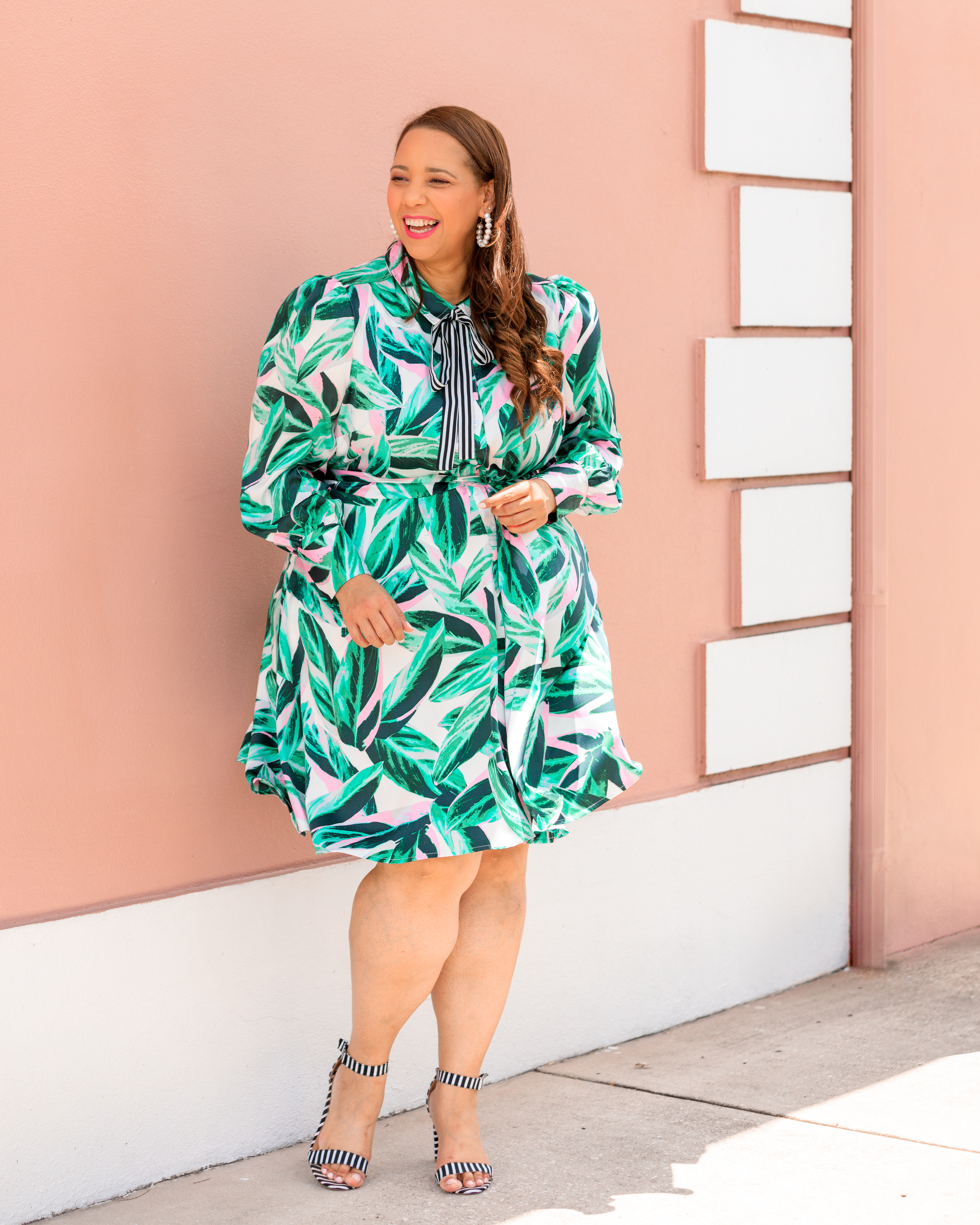 Palm Leaf Print Shirtdress From The Beauticurve x Lane Bryant Collection