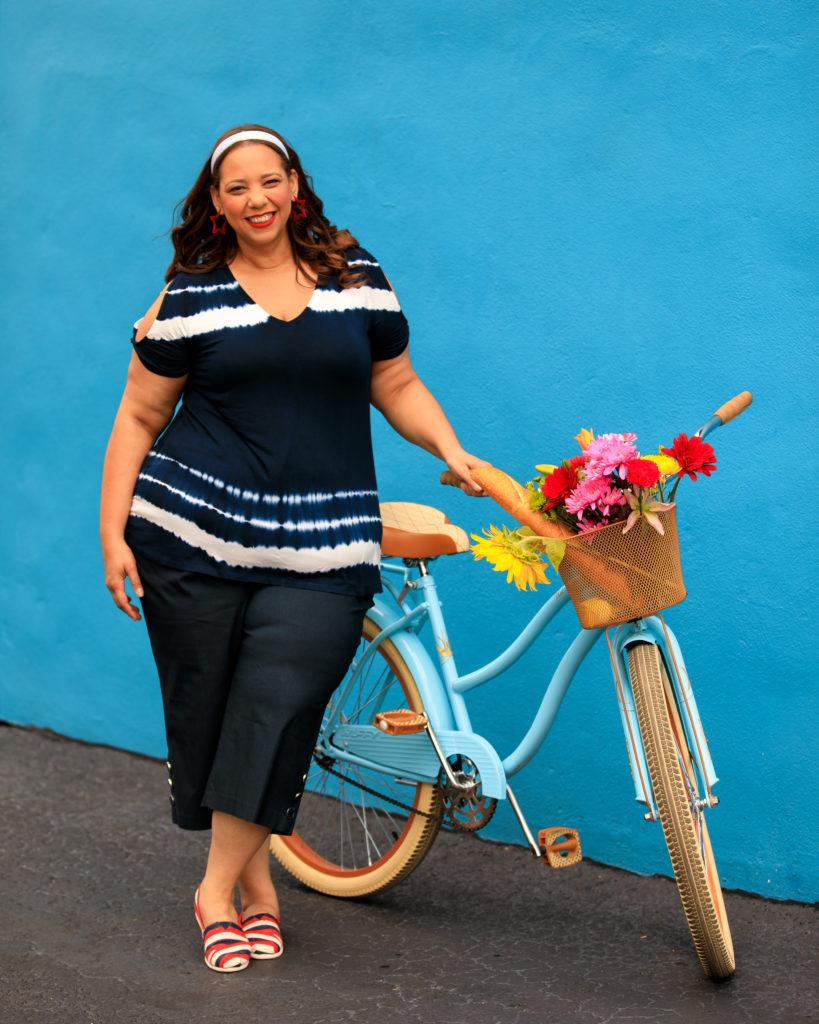 Model on a bike