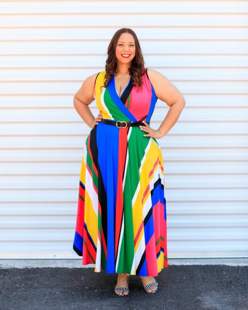 tampa fashion blogger farrah estrella wearing a striped dress