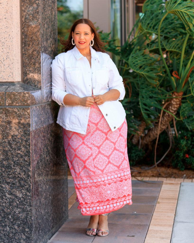 white Plus size denim jacket and maxi dress
