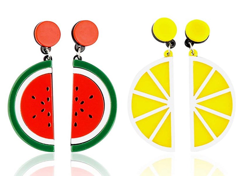 watermelon and lemon earrings