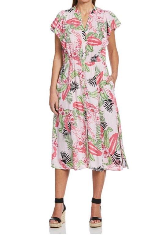 Rafaella Sportswear Printed Linen Blend Dress With Flutter Sleeve