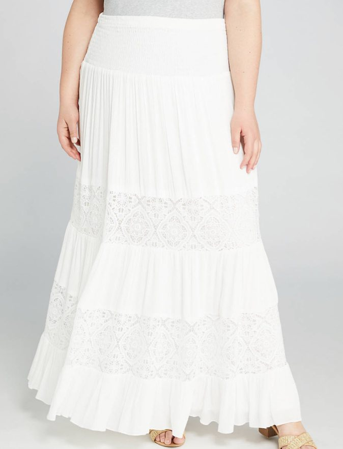Lace Inset Maxi Skirt