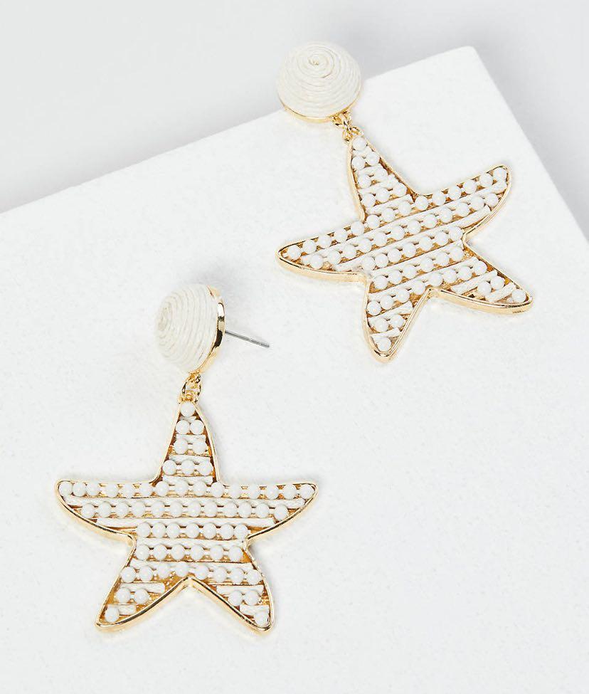 Beaded Starfish Drop Earrings