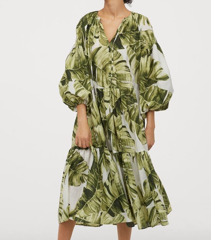 Palm Print Balloon-Sleeved Cotton Dress