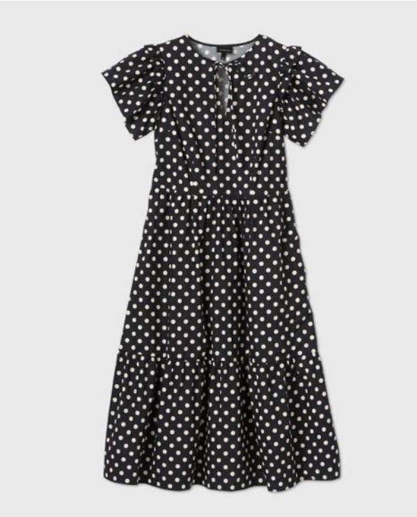 Polkadots Women's Bell Short Sleeve Dress - Who What Wear