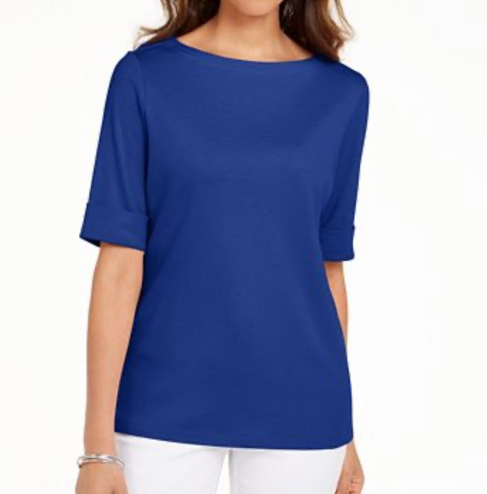 Ultra Blue Boat Neck Top