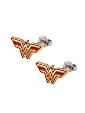 Wonder Woman Comics Earrings Stainless Steel Post with Logo Stud Earrings