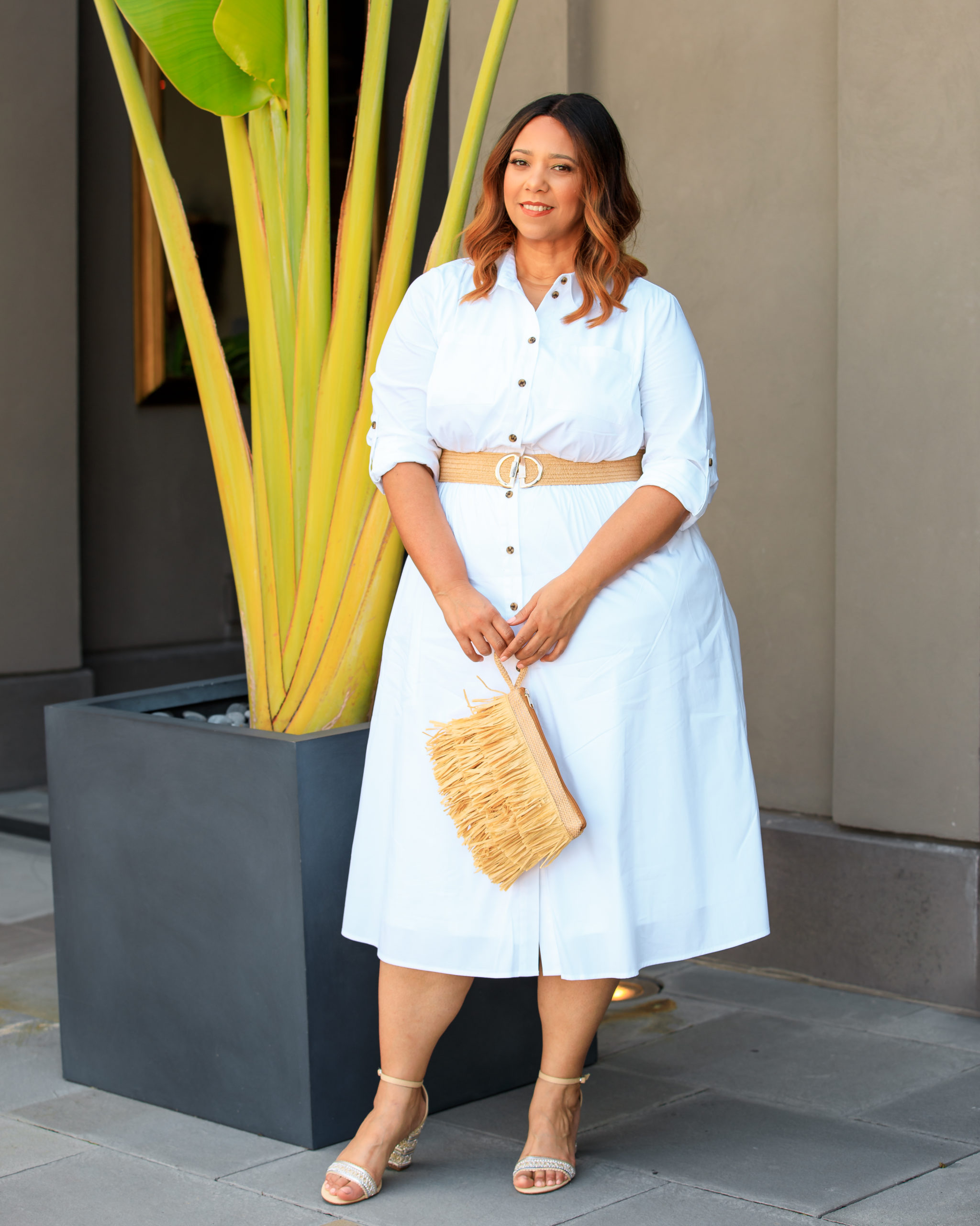White Button-Front Midi Shirtdress