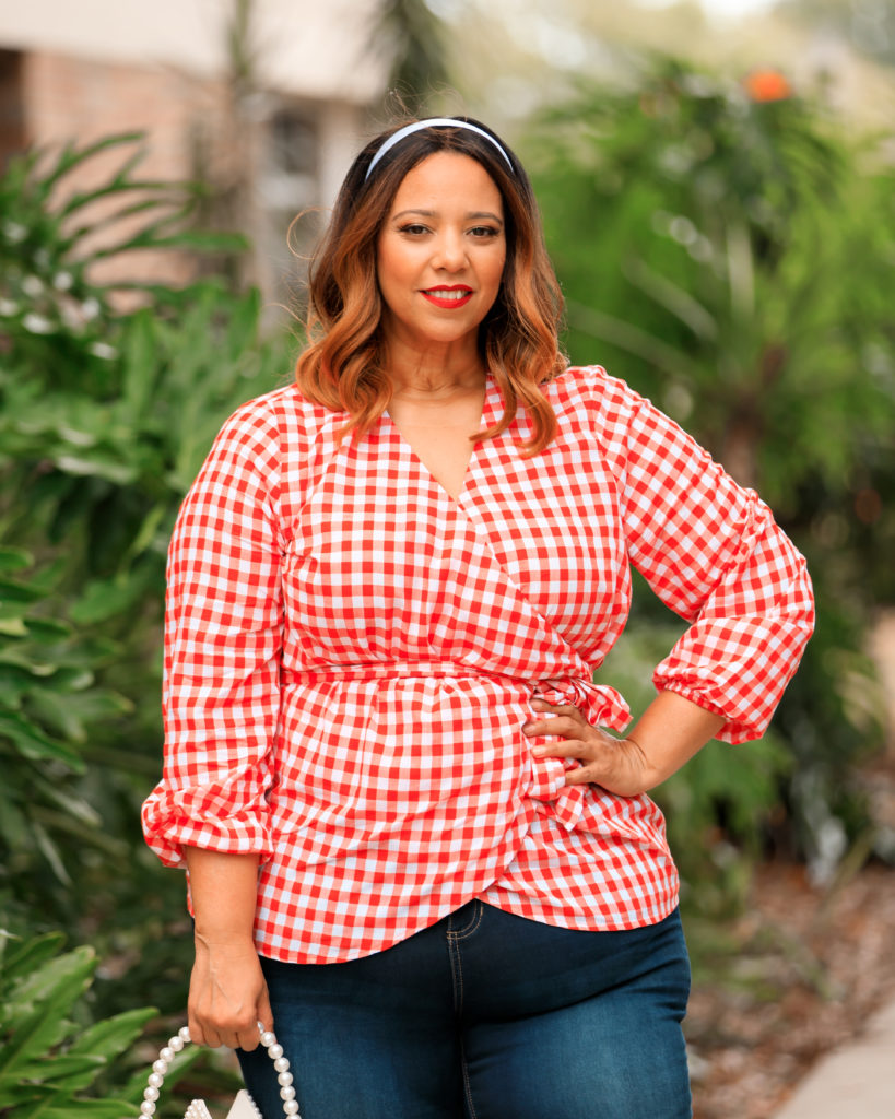 Red & White Gingham Wrap Top & Jeans