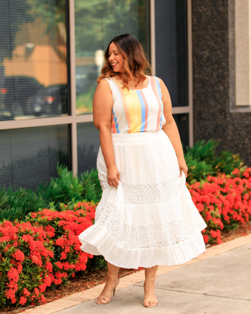 plus size fashion blogger Farrah Estrella wearing a White Maxi Skirt & Denim Jacket