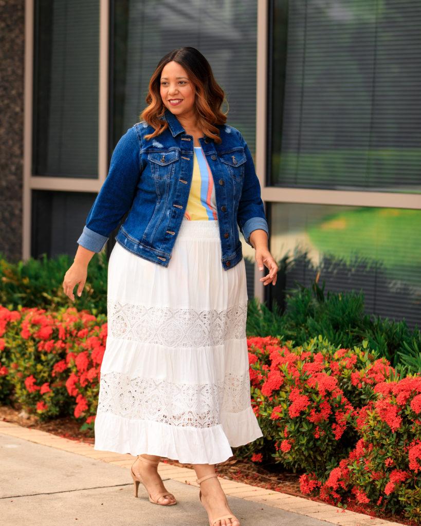 White Maxi Skirt & Denim Jacket