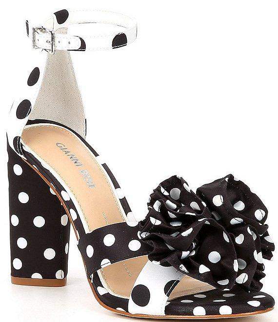 Gianni Bini Rhosiee Polka Dot Flower Pom Block Heel Sandals