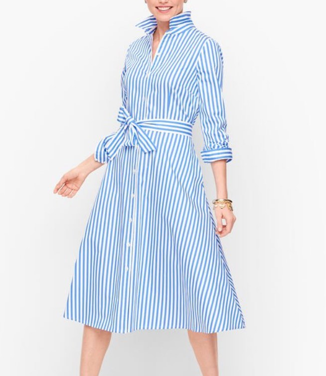 blue and white CLASSIC POPLIN SHIRTDRESS - VERTICAL STRIPE